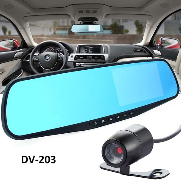 Rear View Mirror Mounted Dash Camera for Front and Rear